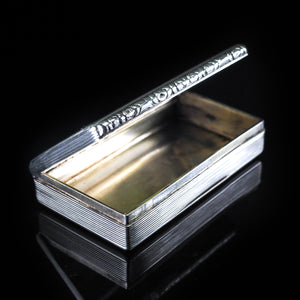 Antique English Solid Silver Table Snuff Box - Birmingham 1833 - Artisan Antiques
