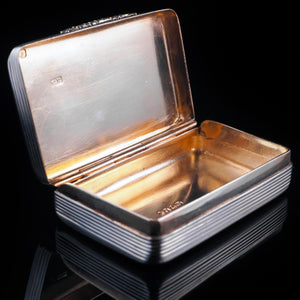 Antique English Solid Silver & Gold Gilt Snuff Box - London 1841 - Artisan Antiques