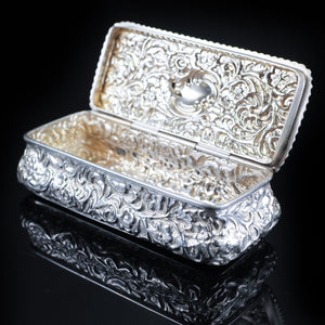 Antique Large Table Snuff Box with Acanthus Repousse - Birmingham 1901 - Artisan Antiques