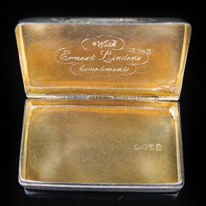Antique English Solid Silver Snuff Box with Gilt Interior - London 1831 - Artisan Antiques