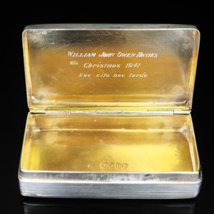 Antique English Solid Silver Historical Snuff Box - London 1845 - Artisan Antiques