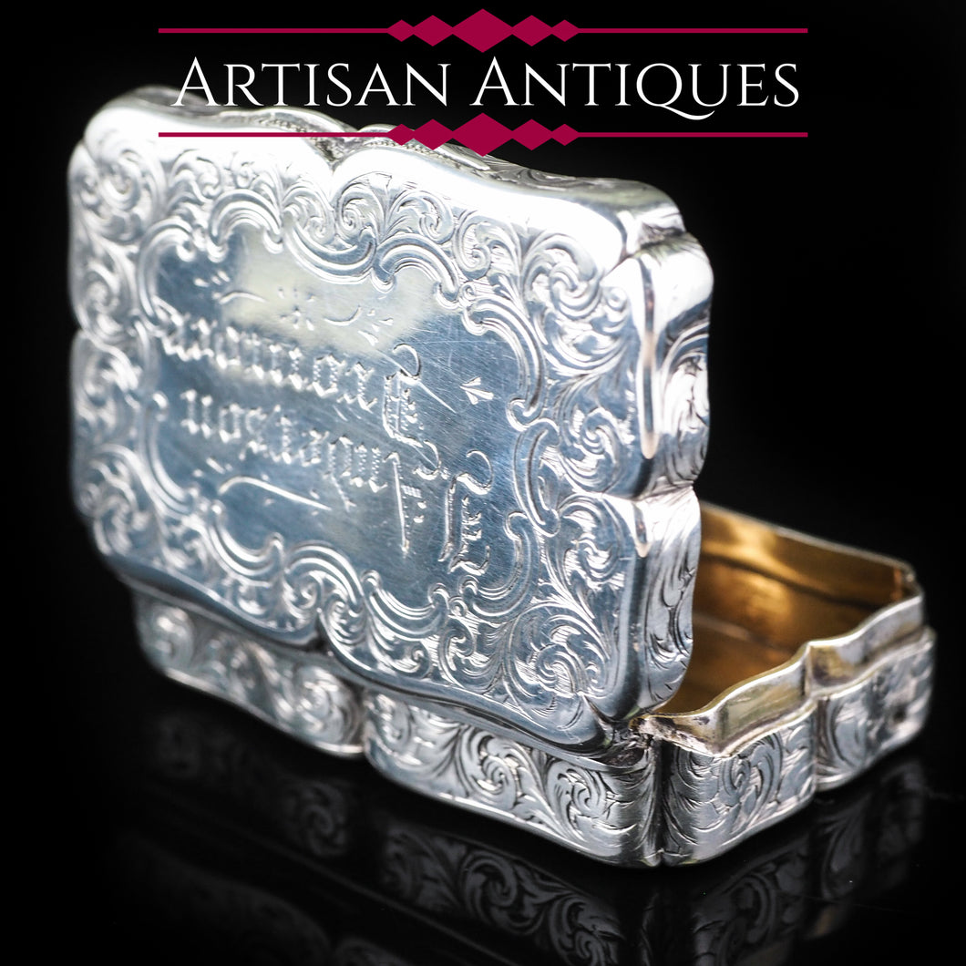 Antique Victorian Hand Engraved Solid Silver Snuff Box - Birmingham 1851 - Artisan Antiques