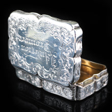 Load image into Gallery viewer, Antique Victorian Hand Engraved Solid Silver Snuff Box - Birmingham 1851 - Artisan Antiques