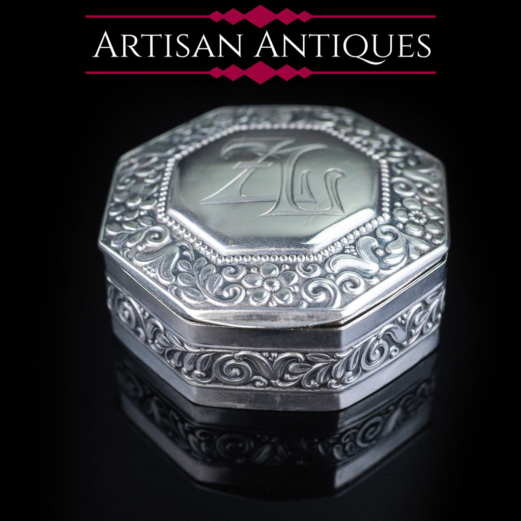 Antique Octagonal German Silver Snuff Box  c.1870 - Artisan Antiques