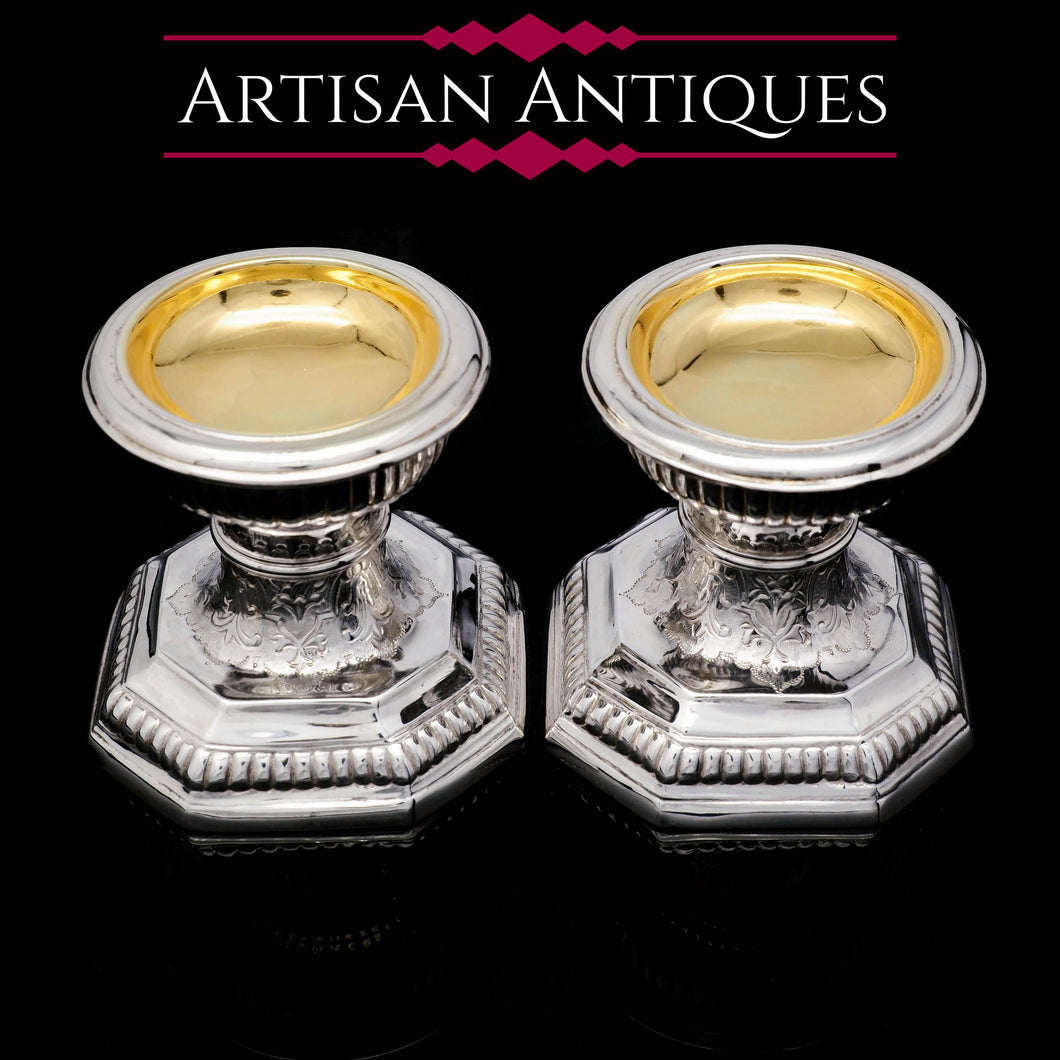 A Unique Antique Pair of Solid Silver Salt Cellars, Pedestal Design - Daniel & John Wellby 1886 - Artisan Antiques