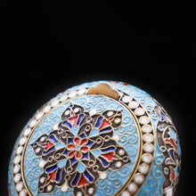 Load image into Gallery viewer, Russian Cloisonne Enamel Silver Pill Box - Grigory Sbitnev c.1900 - Artisan Antiques