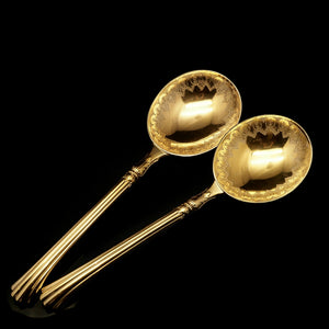 A Victorian Pair of Solid Silver Gilt Spoons with Fine Engravings - Francis Higgins 1883 - Artisan Antiques