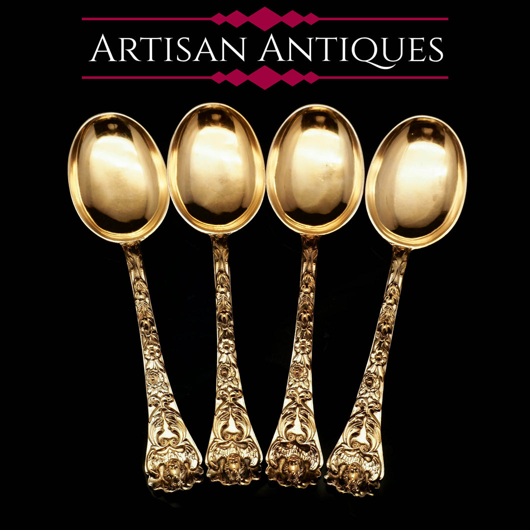An Antique Set of 4 Solid Silver Gilt Spoons with Highly Embossed Design - Henry William Curry 1871 - Artisan Antiques