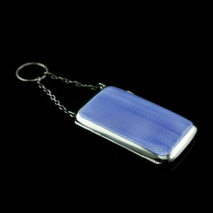 Antique Solid Silver Blue Enamel Guilloche Cigarette Case - Robert Chandler 1916