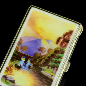 An English Solid Silver Enamel Cigarette Case with Landscape Scene - A.J.P London 1927