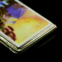 Cargar imagen en el visor de la galería, An English Solid Silver Enamel Cigarette Case with Landscape Scene - A.J.P London 1927