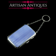 Load image into Gallery viewer, Antique Solid Silver Blue Enamel Guilloche Cigarette Case - Robert Chandler 1916