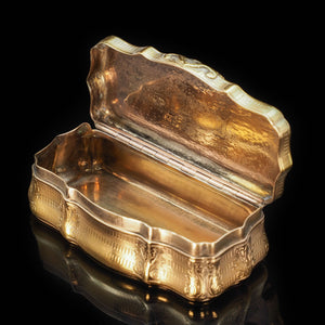 Fully Silver Gilt Table Snuff Box - Austrian 19th Century - Artisan Antiques