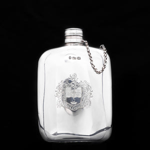 Victorian Solid Silver Hip Flask with Chain Linked Cap - Robert Thornton 1885 - Artisan Antiques
