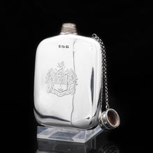 Load image into Gallery viewer, Victorian Solid Silver Hip Flask with Chain Linked Cap - Robert Thornton 1885 - Artisan Antiques