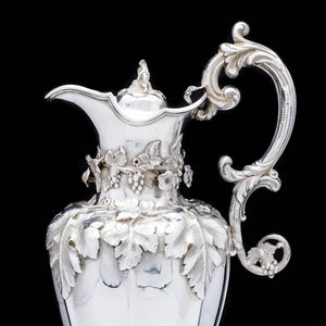 Magnificent Solid Silver Wine Ewer/Jug with Embossed Grape Vines - Henry Wilkinson & Co, 1845 - Artisan Antiques