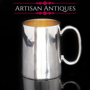 A Dainty Solid Silver Mug with Gilt Interior - Robert Pringle & Sons 1942 - Artisan Antiques