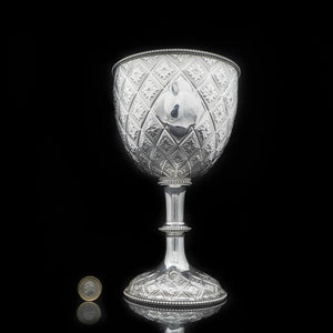 A Large Victorian Solid Silver Wine Goblet/Cup/Trophy with Abercorn Motif - Richard Sibley 1869 - Artisan Antiques
