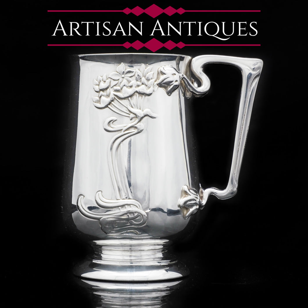 A Wonderful Art Nouveau Solid Silver Mug - Edwardian 1903 - Artisan Antiques