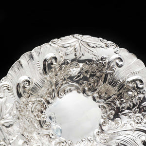 An Ornate Victorian Solid Silver Chased Dish - Goldsmiths & Silversmiths Co 1896 - Artisan Antiques