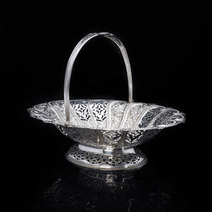 A Victorian Solid Silver Basket with Pierced Motifs - Henry Atkin 1892 - Artisan Antiques