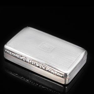 Georgian Engine Turned Solid Silver Snuff Box - Edward Smith 1835 - Artisan Antiques