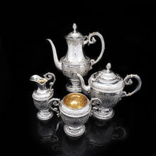 Load image into Gallery viewer, A Magnificent Victorian Solid Silver 4-Piece Tea & Coffee Service by Goldsmiths & Silversmiths Co. - Artisan Antiques