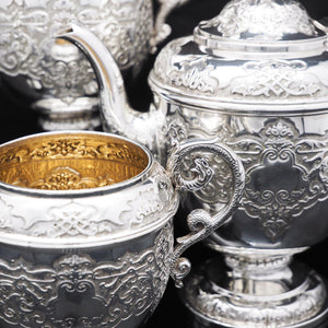 A Magnificent Victorian Solid Silver 4-Piece Tea & Coffee Service by Goldsmiths & Silversmiths Co. - Artisan Antiques