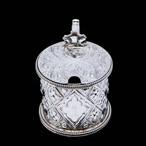 Antique Victorian Solid Silver Mustard/Condiment Pot with Abercorn Design - Alexander Macrae 1866 - Artisan Antiques
