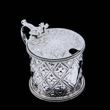 Load image into Gallery viewer, Antique Victorian Solid Silver Mustard/Condiment Pot with Abercorn Design - Alexander Macrae 1866 - Artisan Antiques