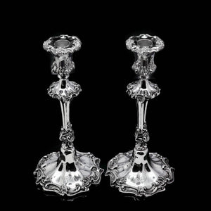 Antique Pair of Solid Silver Victorian Candlesticks - Henry Wilkinson & Co 1848 - Artisan Antiques