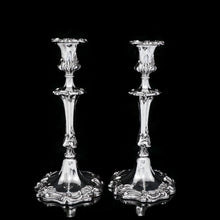 Load image into Gallery viewer, Antique Pair of Solid Silver Victorian Candlesticks - Henry Wilkinson & Co 1848 - Artisan Antiques