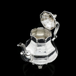 A Victorian Solid Silver Teapot with Engraved Panels - John & George Angell 1846 - Artisan Antiques