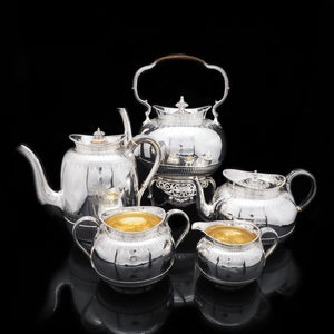 Elegant Victorian Solid Silver Tea & Coffee 5-Piece Set  - George Fox 1865 - Artisan Antiques