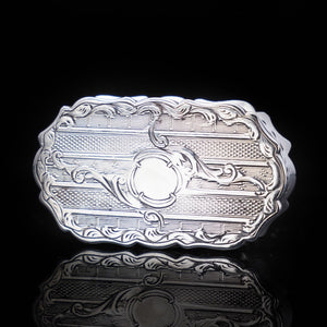 Victorian Solid Silver Snuff Box with Gilt Interior - Francis Clark 1847 - Artisan Antiques
