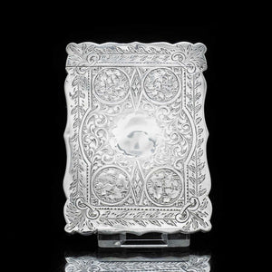 A Victorian Solid Silver Card Case with Floral Engravings - Hilliard & Thomason 1880 - Artisan Antiques