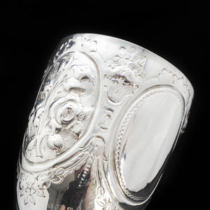 A Large Solid Silver Goblet with Victorian Chased Motifs - George Unite 1891 - Artisan Antiques