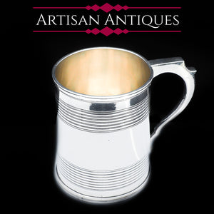 A Handsome Solid Silver Victorian Mug/Tankard - William Evans 1868 - Artisan Antiques
