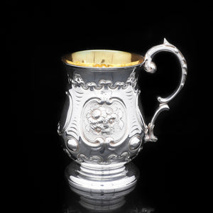 Victorian Solid Silver Pint Tankard/Mug with Chased Body - Hayne & Carter 1860 - Artisan Antiques