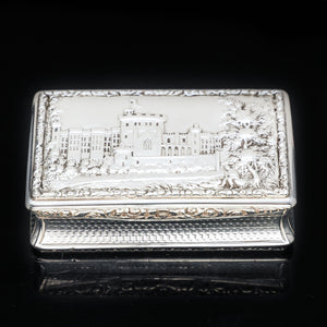 "RESERVED - A Georgian Windsor ""Castle Top"" Solid Silver Snuff Box - Taylor & Perry 1836 - Artisan Antiques"
