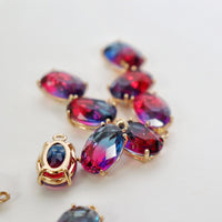 Oval Bling Charms, package of 2 (blue/pink ombre)