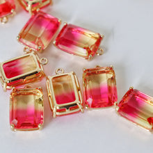 Load image into Gallery viewer, Rectangular Bling Charms, package of 2 (yellow/pink ombre)