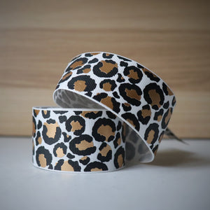 1.5 inch (38mm) Lux Leopard Metallic Ribbon: White with Gold Foil