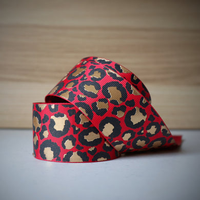 1.5 inch (38mm) Lux Leopard Metallic Ribbon: Red with Gold Foil