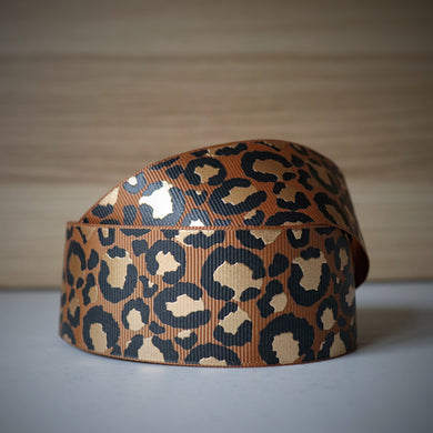 1.5 inch (38mm) Lux Leopard Metallic Ribbon: Camel with Gold Foil