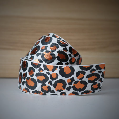 1.5 inch (38mm) Lux Leopard Metallic Ribbon: White with Copper Foil