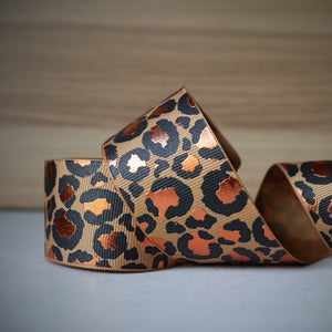 1.5 inch (38mm) Lux Leopard Metallic Ribbon: Camel with Copper Foil