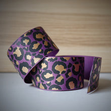 Load image into Gallery viewer, 1.5 inch (38mm) Lux Leopard Metallic Ribbon: Purple with Gold Foil