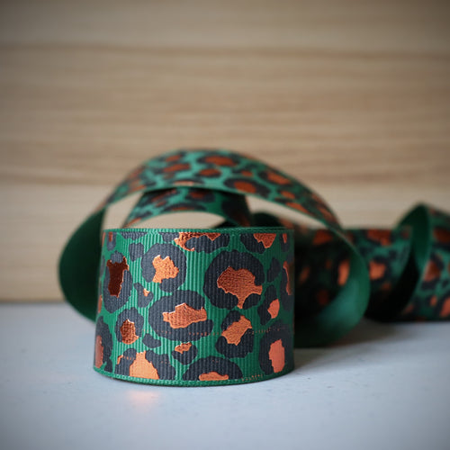 1.5 inch (38mm) Lux Leopard Metallic Ribbon: Green with Copper Foil