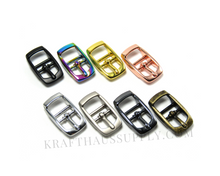 Load image into Gallery viewer, 3/8 inch (10mm) Yellow Gold Double Bar Pin Buckle